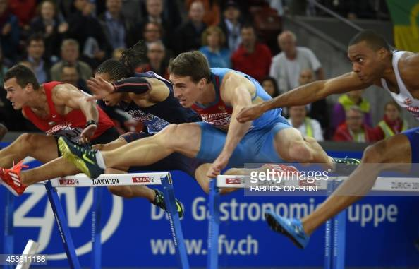 Hungary's Balazs Baji France's Pascal MartinotLagarde and Russia's Sergey Shubenkov compete in the Men's 110m hurdles final during the European...