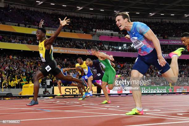 Hungary's Balázs Baji Jamaica's Omar Mcleod and Authorised Neutral Athlete Sergey Shubenkov hit the line in the final of the men's 110m hurdles...