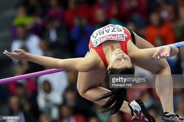 Hungary's Barbara Szabo competes in the qualifying round of the Women's High Jump contest during the European Athletics Championships at the...