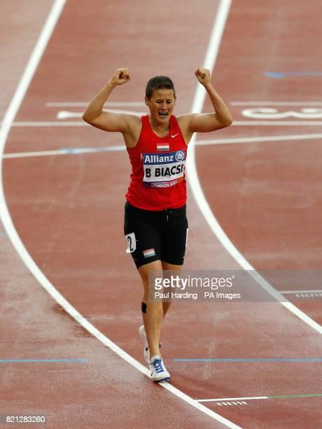 Hungary's Bernadett Biacsi wins the Women's 100m T20 Final during day ten of the 2017 World Para Athletics Championships at London Stadium