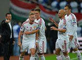 Hungary's captain and midfielder Balazs Dzsudzsak celebrates scoring with his teammates during the Euro 2016 Group F qualifying football match...