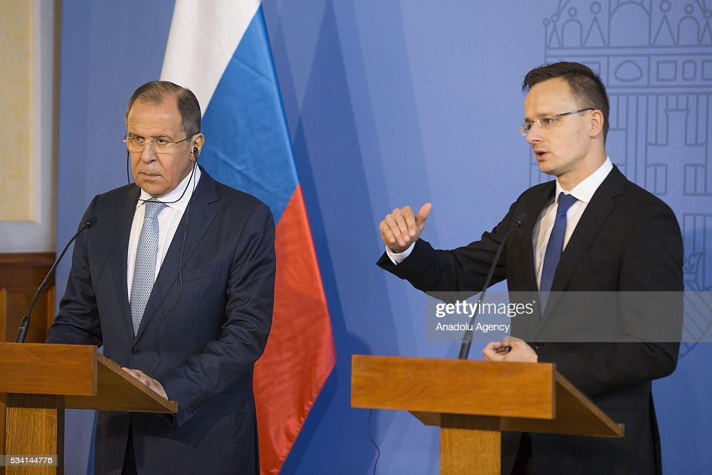 Hungary's Foreign Minister Peter Szijjarto (R) and Russian Foreign Minister Sergei Lavrov (L) attend a press conference following their meeting, at Hungarian Foreign Ministry, in Budapest, Hungary on May 25, 2016.