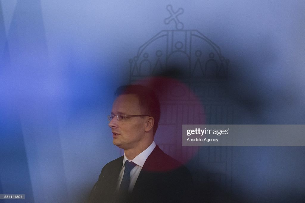 Hungary's Foreign Minister Peter Szijjarto and Russian Foreign Minister Sergei Lavrov (not seen) attend a press conference following their meeting, at Hungarian Foreign Ministry, in Budapest, Hungary on May 25, 2016.