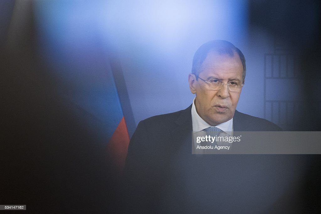 Hungary's Foreign Minister Peter Szijjarto (not seen) and Russian Foreign Minister Sergei Lavrov (L) attend a press conference following their meeting, at Hungarian Foreign Ministry, in Budapest, Hungary on May 25, 2016.