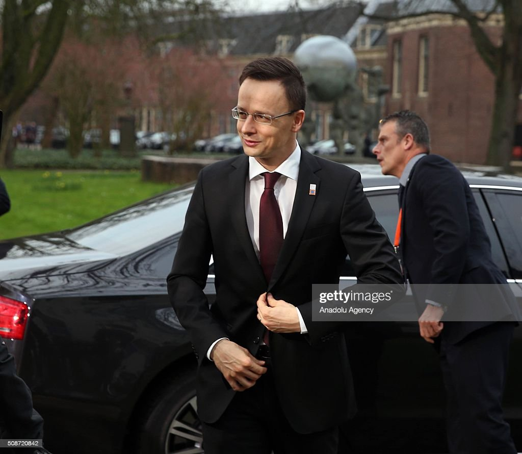 Hungary's Foreign Minister Peter Szijjarto arrives to take part in Informal Gymnich meeting of EU foreign ministers in Amsterdam, Netherlands on February 6, 2016.