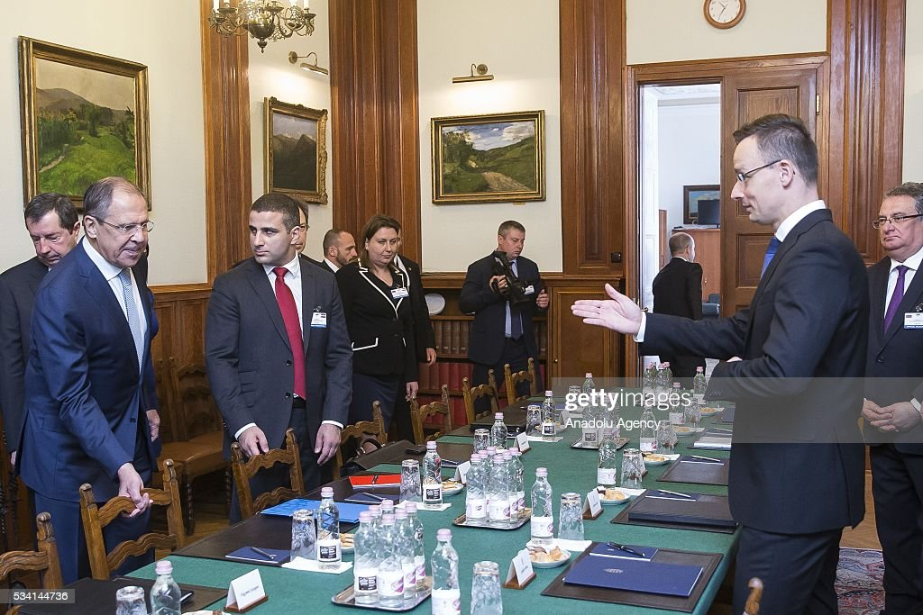Hungary's Foreign Minister Peter Szijjarto (R) meets with Russian Foreign Minister Sergei Lavrov (L), at Hungarian Foreign Ministry, in Budapest, Hungary on May 25, 2016.