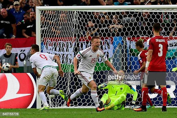 TOPSHOT Hungary's forward Adam Szalai celebrates after scoring a goal during the Euro 2016 group F football match between Hungary and Austria at the...