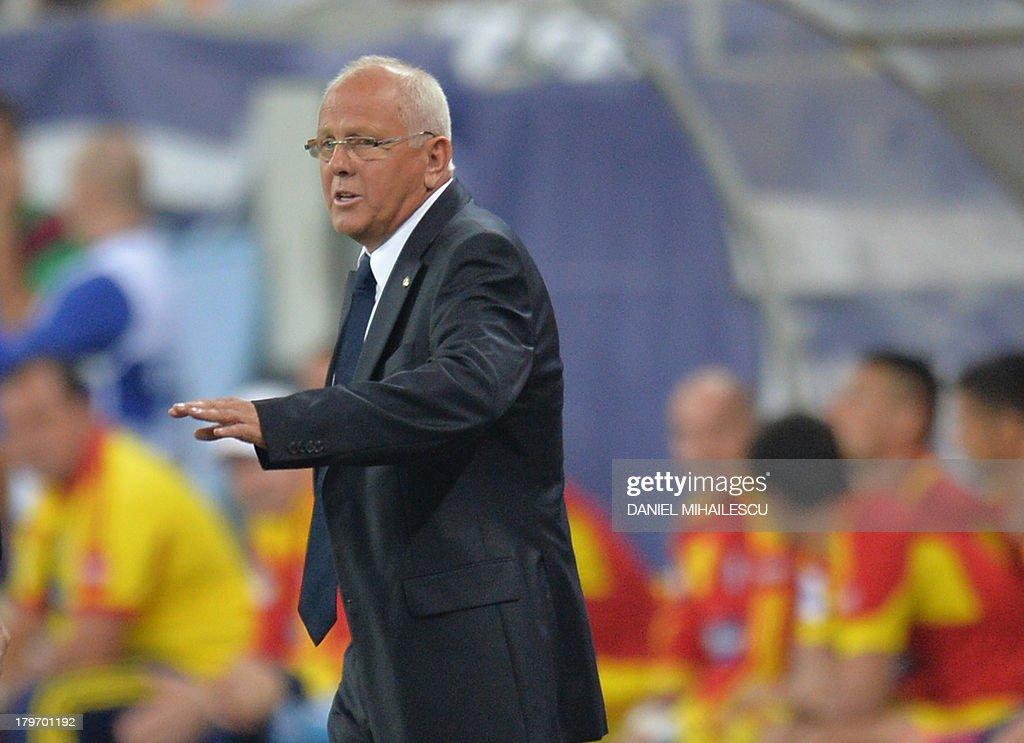 Hungary's head coach Sandor Egervari during the FIFA World Cup 2014 group D qualifying football match Romania vs Hungary on September 6, 2013 in Bucharest, Romania.