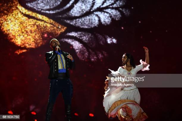 Hungary's Joci Papai performs the song 'Origo' during the second semifinal dress rehearsal of Eurovision Song Contest 2017 at the International...