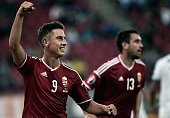 Hungary's Krisztian Nemeth celebrates after scoring a goal during the UEFA Euro 2016 qualifying Group F football match between Greece and Hungary on...