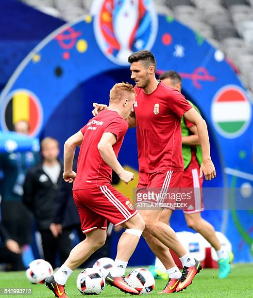 Hungary's midfielder Adam Pinter attends a training session at the Stadium Municipal in Toulouse southern France on June 25 on the eve of the Euro...