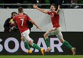 Hungary's midfielder Zoltán Gera celebrates scoring a goal with Hungary's midfielder Balazs Dzsudzsak during the UEFA 2016 European Championship...