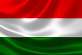 3D rendering of the flag of Hungary on satin texture.