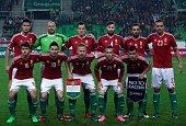 Hungary's national team players midfielder Adam Nagy midfielder Zoltan Gera midfielder captain Balazs Dzsudzsak midfielder Adam Bodi and forward...