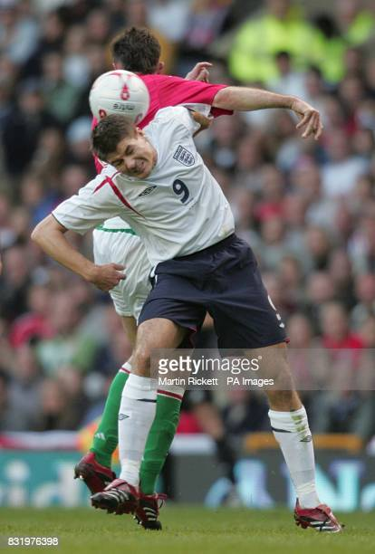 Hungary's Pal Dardai and England's Steven Gerrard in action