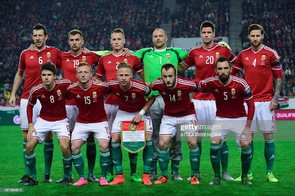 Hungary's players midfielder Ádám Nagy midfielder László Kleinheisler midfielder captain Balázs Dzsudzsák forward Gergo Lovrencsics and midfielder...