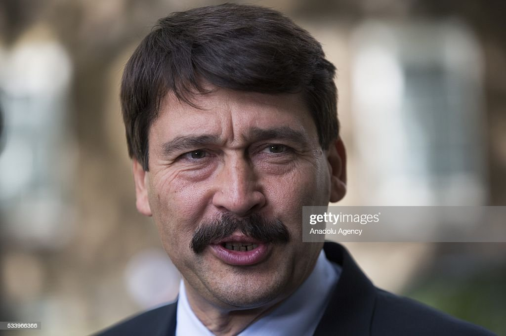Hungary's President Janos Ader leaves Downing Street after meeting Britain's Prime Minister David Cameron in London, Britain