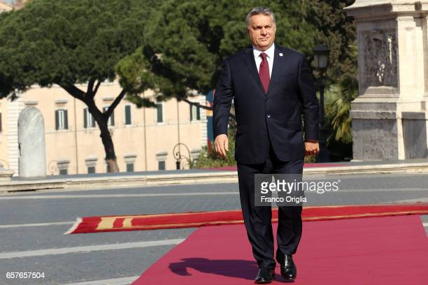 Hungary's Prime Minister Viktor Orban arrives at the Capitole Hill ahead of a special summit of EU leaders to mark the 60th anniversary of the bloc's...