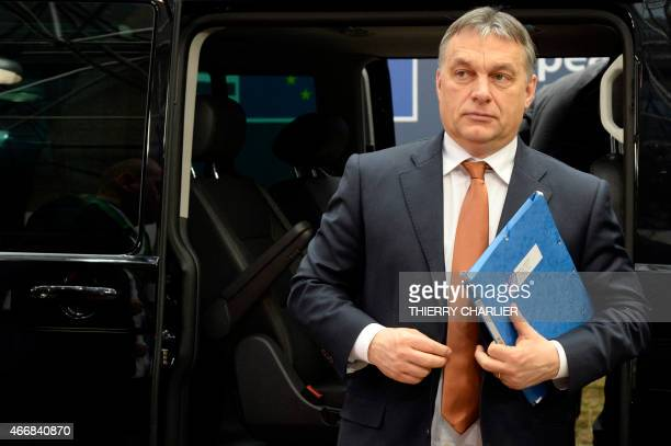 Hungary's Prime minister Viktor Orban arrives for an European Council summit on March 19 2015 at the Council of the European Union Justus Lipsius...
