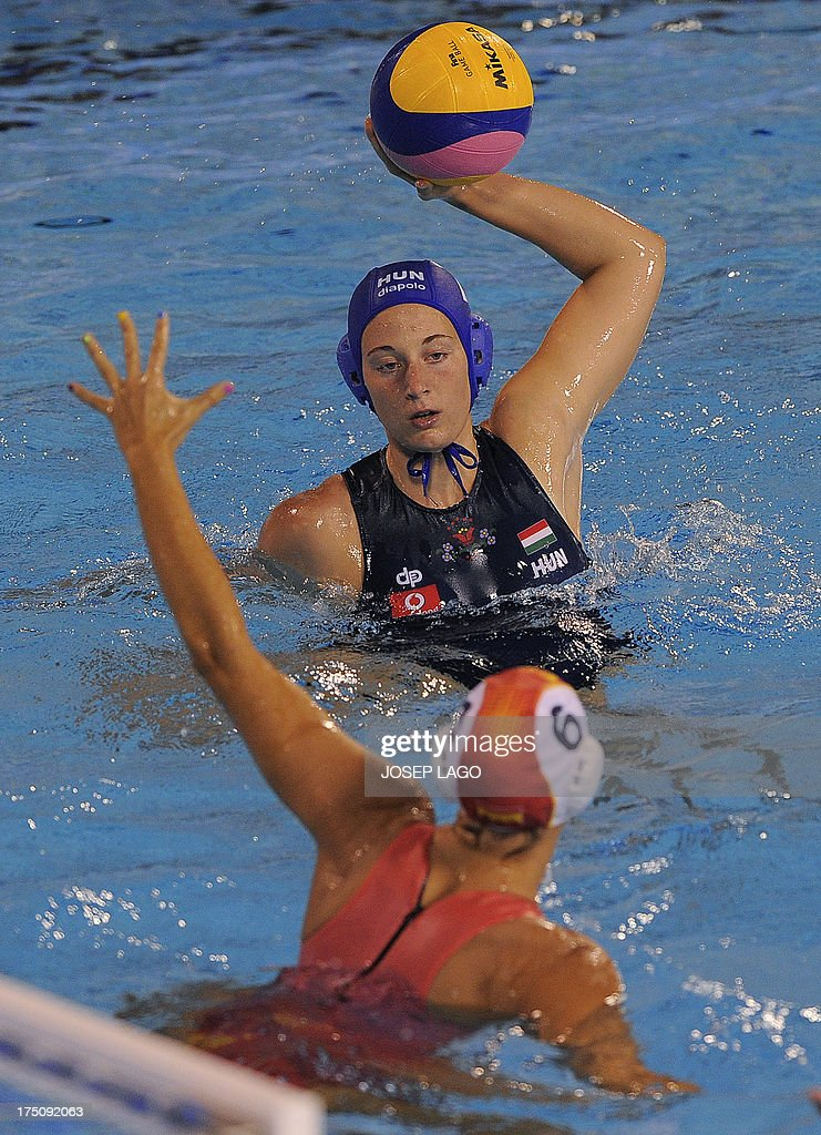 Hungary's Rita Keszthlyi vies with Spain's Jennifer Pareja during their women's water polo semifinal match at the FINA World Championships at the...