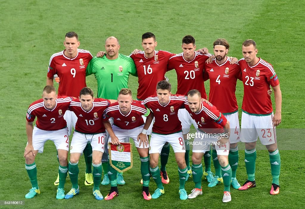 Hungary's starting eleven pose for a group picture during the Euro 2016 round of 16 football match between Hungary and Belgium at the Stadium Municipal in Toulouse on June 26, 2016. / AFP / Pascal PAVANI