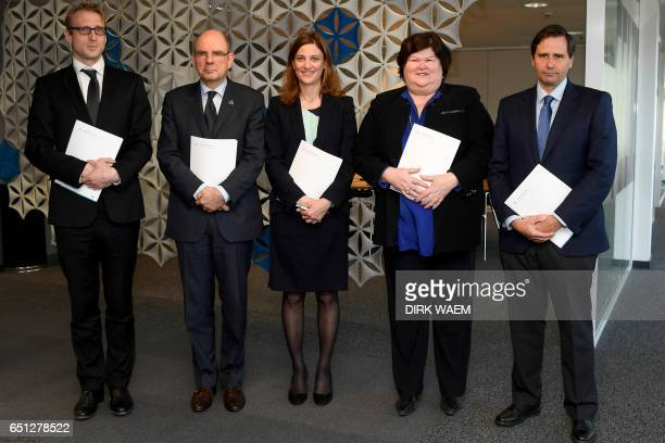 Hungary's State Secretary for European Union Affairs Krisztian Kecsmar Belgium's Justice minister Koen Geens French Minister of State for victim...