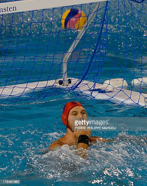 Hungary's Viktor Nagy gestures during the men's water polo final match Montenegro vs Hungary at the FINA World Championships on August 3 2013 at the...