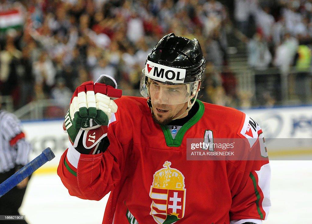 Hungary's Viktor Tokaji celebrates scoring the winning goal during the 2013 IIHF Ice Hockey World Championship Division I Group A match Kazakhstan vs Hungary in 'Papp Laszlo' Arena of Budapest on April 17, 2013. Hungarians won 2-1.
