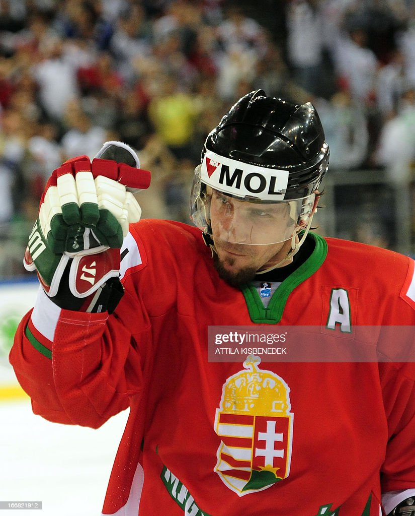 Hungary's Viktor Tokaji celebrates scoring the winning goal during the 2013 IIHF Ice Hockey World Championship Division I Group A match Kazakhstan vs Hungary in 'Papp Laszlo' Arena of Budapest on April 17, 2013. Hungarians won 2-1.