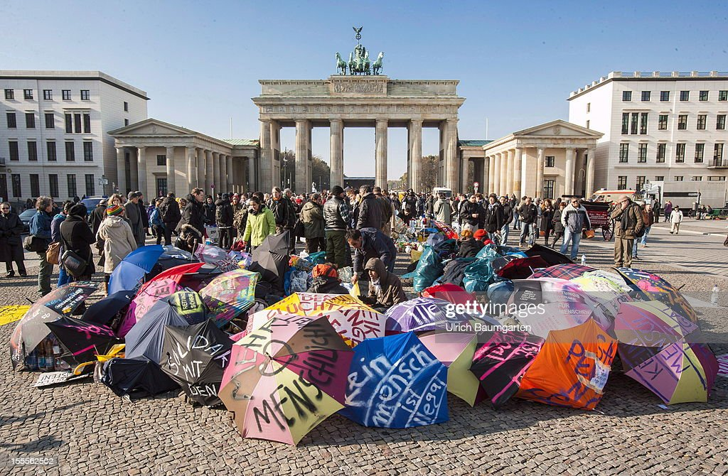 Hunger strike of asylum seekers against the german deportation laws in front of the Brandenburg Gate in Berlin on October 31, 2012 in Berlin, Germany.