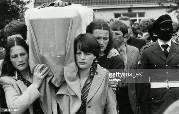 IRA Hunger Strikers August 1981 Thomas McIlwee's sisters carry his coffin for a short distance at his funeral