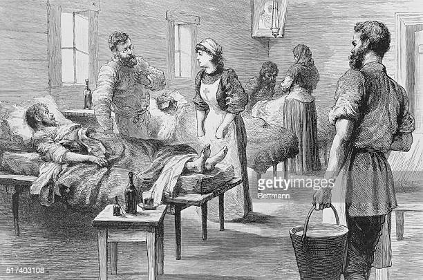 Hunger typhus in Russia The interior of a fever hospital at Moscow Engraving 1892