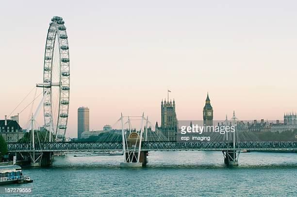 Hungerford Bridge River Thames Dusk Panorama, London