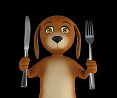 Hungry cartoon dog with knife and fork. Isolated on black background. 3d rendering