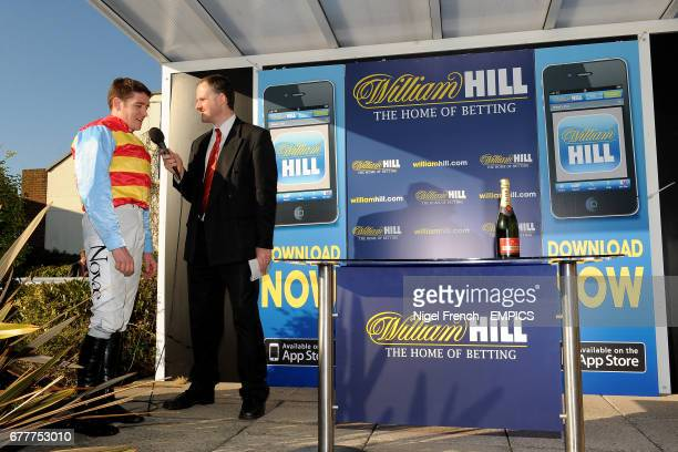 Hunt Ball jockey Barry Geraghty is interviewed after winning The William Hill App 25 SignUp Bonus Handicap Steeple Chase