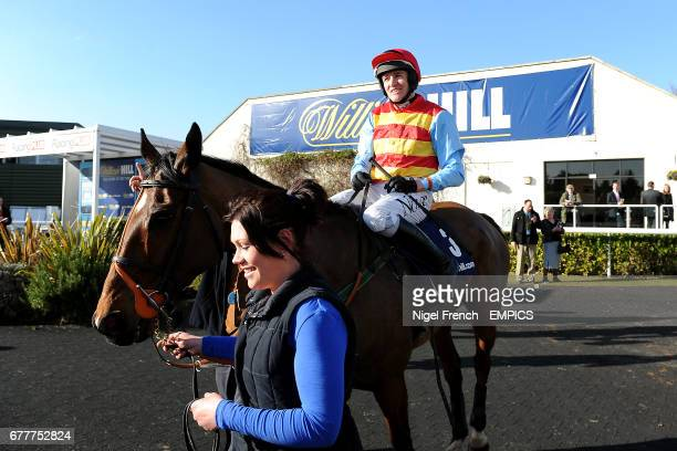 Hunt Ball ridden by Barry Geraghty enters the winners enclosure after winning The William Hill App 25 SignUp Bonus Handicap Steeple Chase