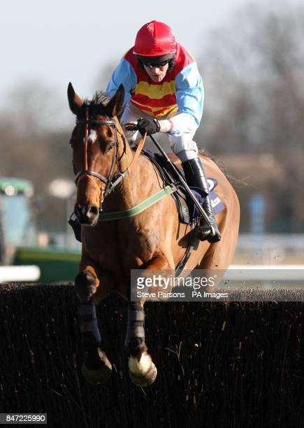 Hunt Ball ridden by Barry Geraghty wins the William Hill App 25 SignUp Bonus Handicap Chase during the Racing Plus Chase Day at Kempton Park...