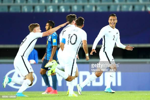 Hunter Ashworth of New Zealand celebrates with Clayton Lewis Dane Ingham and Myer Bevan after scoring during the FIFA U20 World Cup Korea Republic...