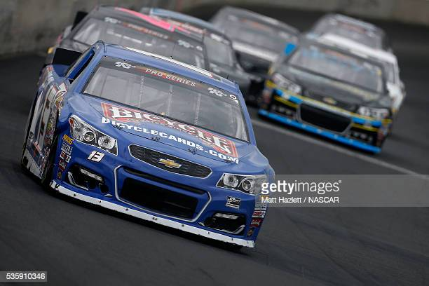 Hunter Baize driver of the Bicycle Playing Cards/Pine Mountain Chevrolet leads a pack of cars during the NASCAR KN Pro Series East ComServe 150 on...