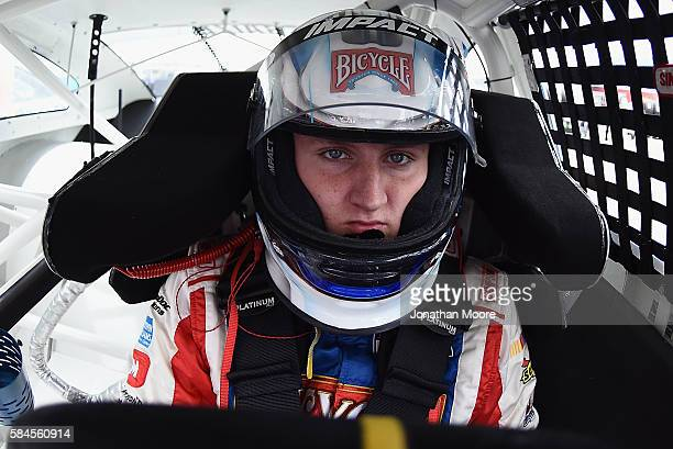 Hunter Baize driver of the Bicycle Playing Cards/Pine Mountain Firelongs Chevrolet sits in his car during practice for the NASCAR KN Pro Series...
