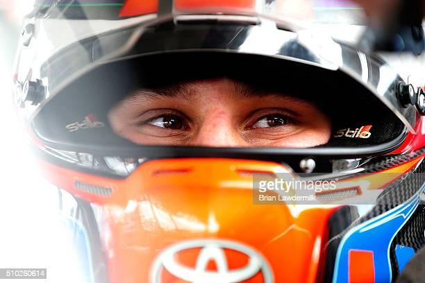 Hunter Baize driver of the Bicycle Playing Cards/Pine Moutain Chevrolet sits in his car during practice for the NASCAR KN Pro Series East Jet Tools...