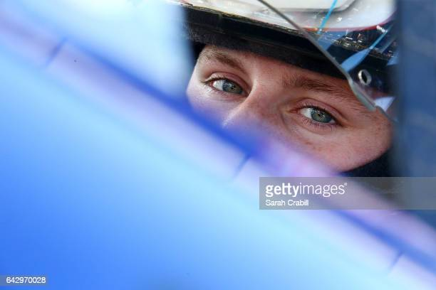 Hunter Baize driver of the EcoWater Systems Naples/KnT Sports Cards Chevrolet practices during the NASCAR KN Pro Series East Jet Tools 150 at New...
