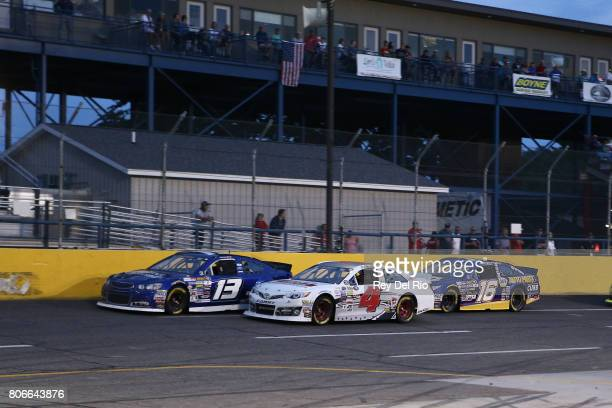 Hunter Baize driver of the EcoWater Systems Naples/KnT Sports Cards Chevrolet races Ronnie Bassett Jr driver of the Citrus Pest Management Ford...