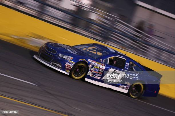 Hunter Baize driver of the EcoWater Systems Naples/KnT Sports Cards Chevrolet races during the NASCAR KN Pro Series East Stars Stripes 150 at Berlin...