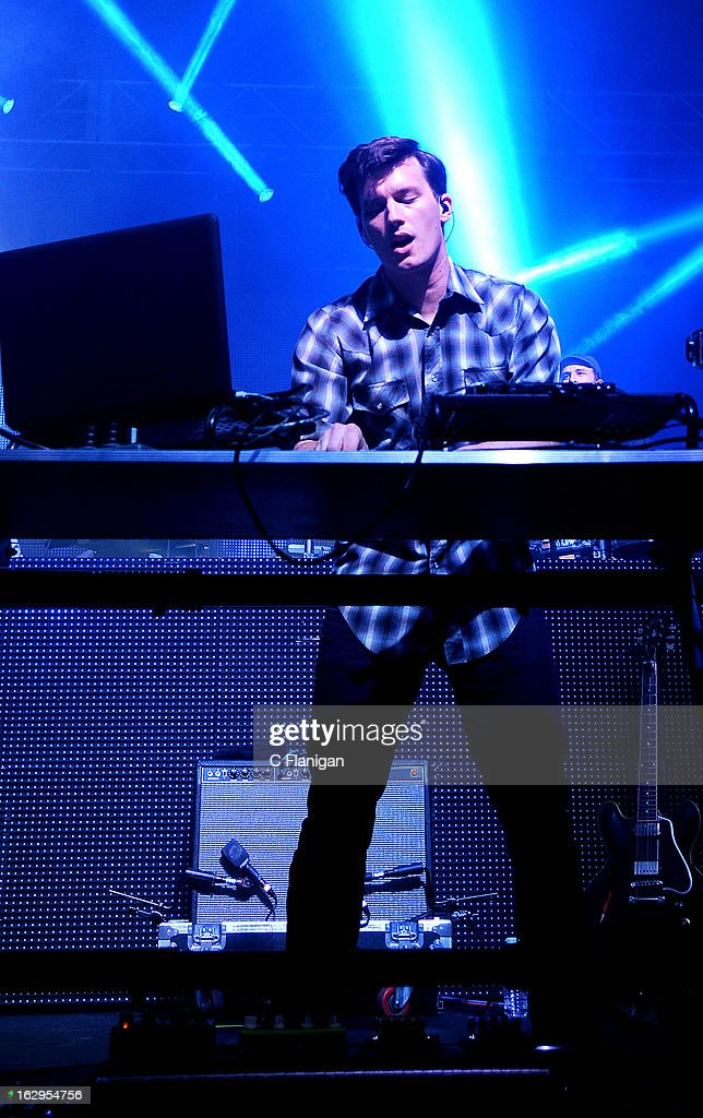 Hunter Brown of Sound Tribe Sector 9 (STS9) performs at The Fox Theatre on March 1, 2013 in Oakland, California.
