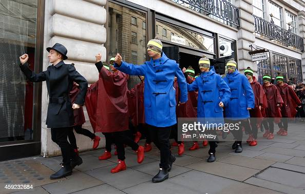 Hunter celebrate the official opening of their first global flagship store on Regent Street as Twenty Eight dancers take over the street with a...