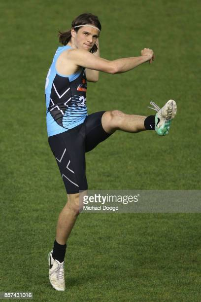 Hunter Clarke from Dandenong Stingrays kicks the ball during the AFLW Draft Combine at Etihad Stadium on October 4 2017 in Melbourne Australia
