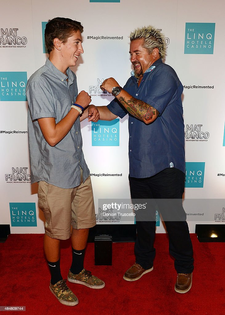 hunter fieri and guy fieri arrive at the grand opening of. Black Bedroom Furniture Sets. Home Design Ideas