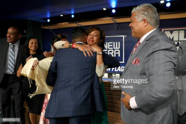 Hunter Greene hugs his mom after being selected second overall by the Cincinnati Reds during the 2017 Major League Baseball Draft at Studio 42 at the...