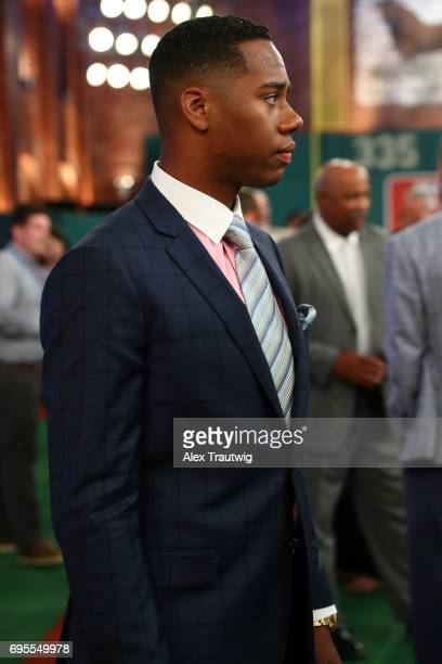 Hunter Greene looks on prior to the 2017 Major League Baseball Draft at Studio 42 at the MLB Network on Monday June 12 2017 in Secaucus New Jersey